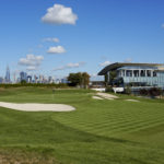 JERSEY CITY, NJ - OCTOBER 4:  The 18th hole which will play as the 14th hole of  Liberty National Golf Club, host course of the 2017 Presidents Cup in Jersey City, New Jersey on Ocotber 4, 2016. (Photo by Chris Condon/PGA TOUR)